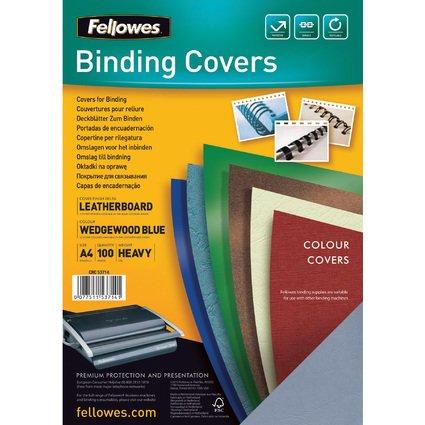 Fellowes Deckblatt Delta, Lederstruktur, DIN A4, hellblau