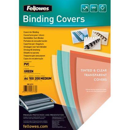 Fellowes Deckblatt, A4, grün-transparent, Stärke 200 my