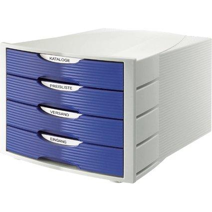 HAN Schubladenbox MONITOR, 4 Schübe, lichtgrau/blau