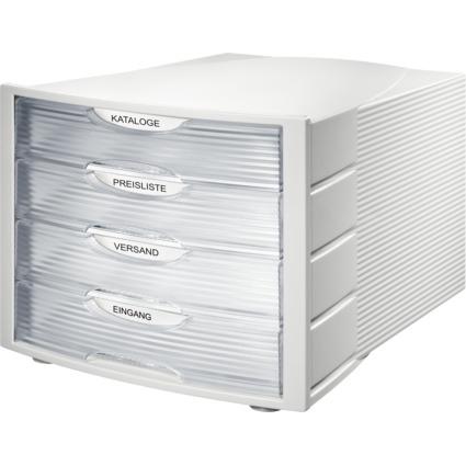 HAN Schubladenbox MONITOR, 4 Schübe, lichtgrau/klar