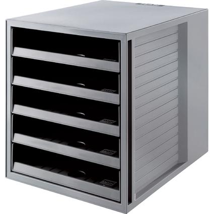 HAN Schubladenbox KARMA, 5 offene Schübe, Gehäuse: grau