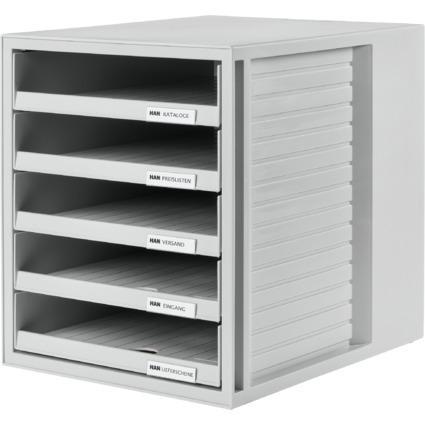 HAN Schubladenbox, 5 offene Schübe, Gehäuse: lichtgrau