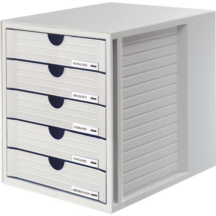 HAN Schubladenbox, 5 Schübe, Gehäuse/Schubladen: lichtgrau