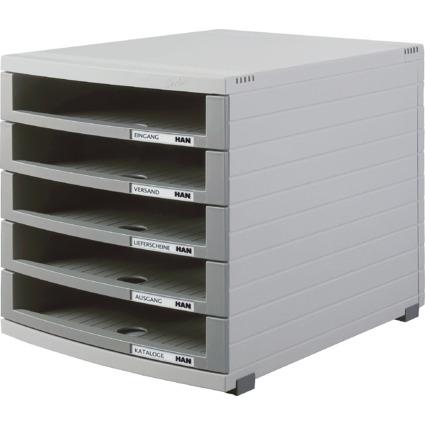 HAN Schubladenbox CONTUR, 5 offene Schübe, lichtgrau