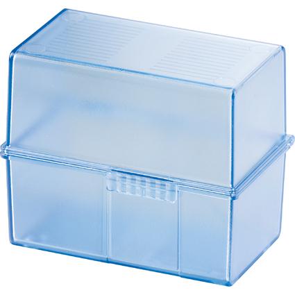 HAN Karteikasten, DIN A7 quer, Kunststoff, blau-transluzent