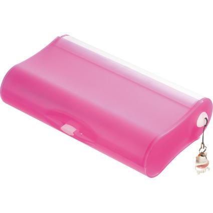 HAN Schüleretui 3-FACH-COOL, Kunststoff, pink-transluzent
