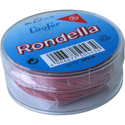 Läufer RONDELLA Gummiringe in der Dose - 25 g, 50 mm, rot