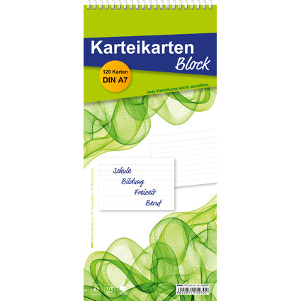 RNK Verlag Karteikartenblock, DIN A7 Karten, liniert, weiß