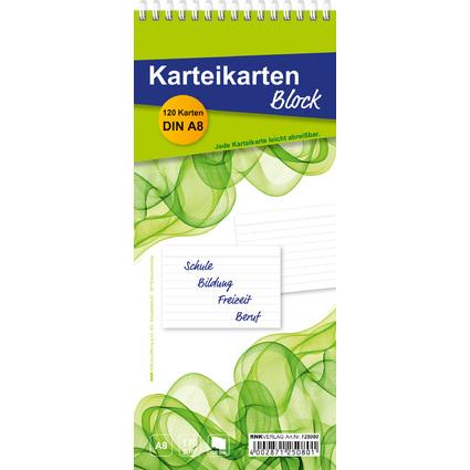 RNK Verlag Karteikartenblock, DIN A8 Karten, liniert, weiß