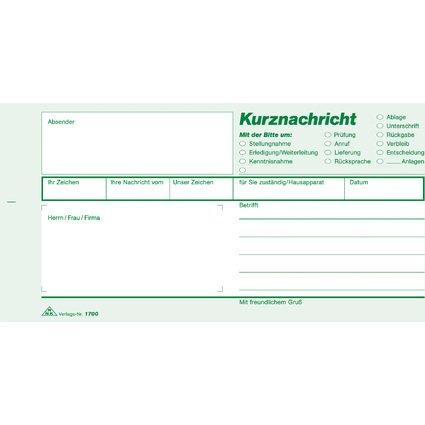 """RNK Verlag Vordruck """"Kurznachricht"""", (B)210 x (H)105 mm"""