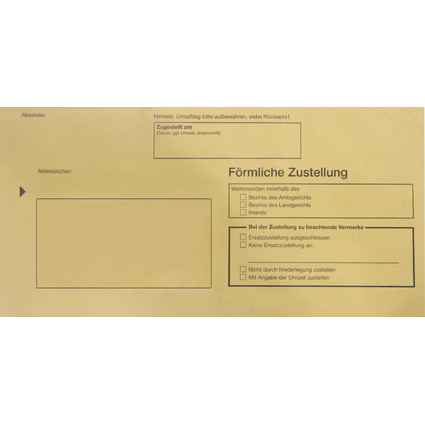 RNK Verlag Zustellungsumschlag, DIN lang, ohne Fenster, gelb