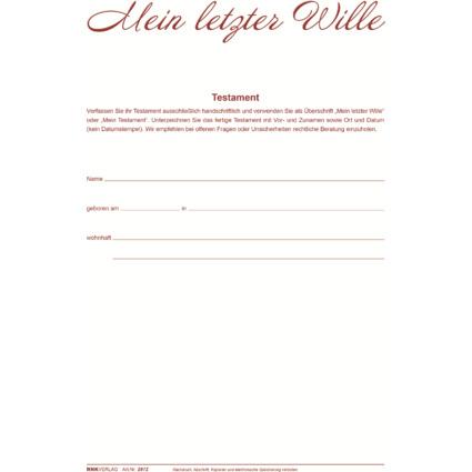"""RNK Verlag Vordruck Testament """"Mein letzter Wille"""", Mappe"""