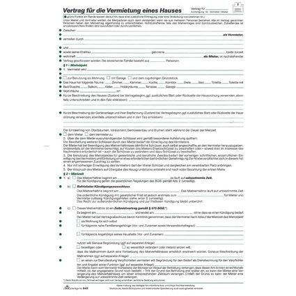 """RNK Verlag Vordruck """"Vertrag zur Vermietung eines Hauses"""""""
