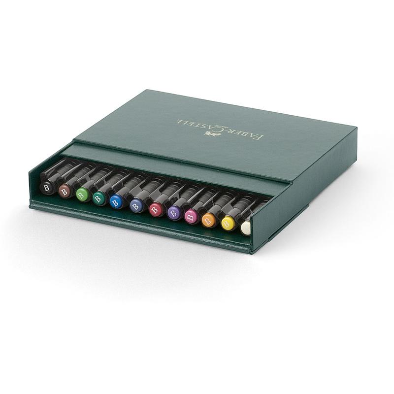 fabercastell tuschestift pitt artist pen 12er atelierbox