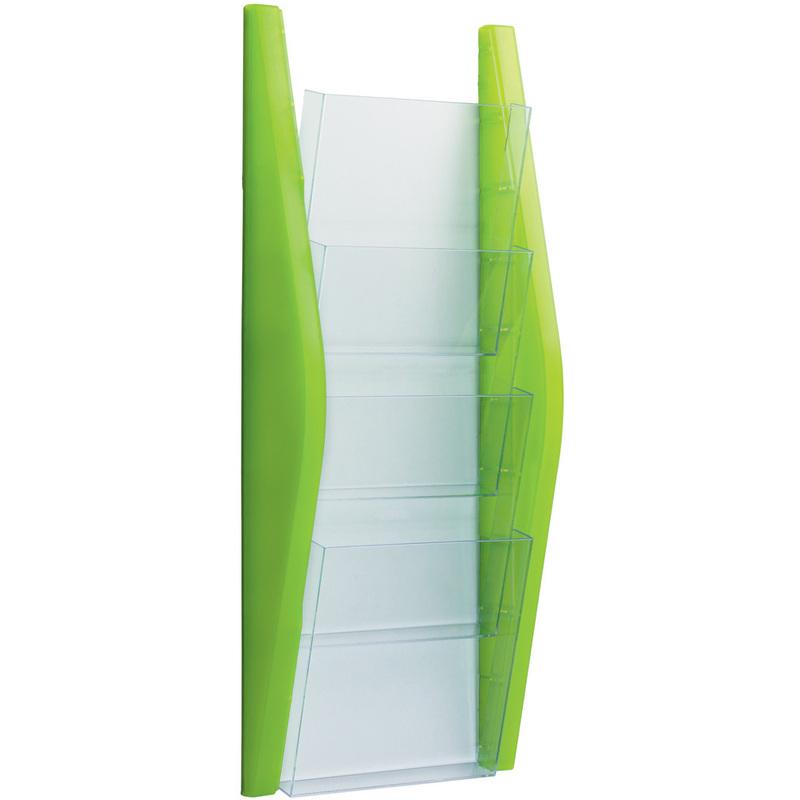 helit Wand-Prospekthalter schwarz DIN A5 hoch 4 Fächer