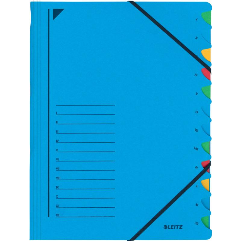 DIN A4 Karton 12 Fächer blau LEITZ Ordnungsmappe