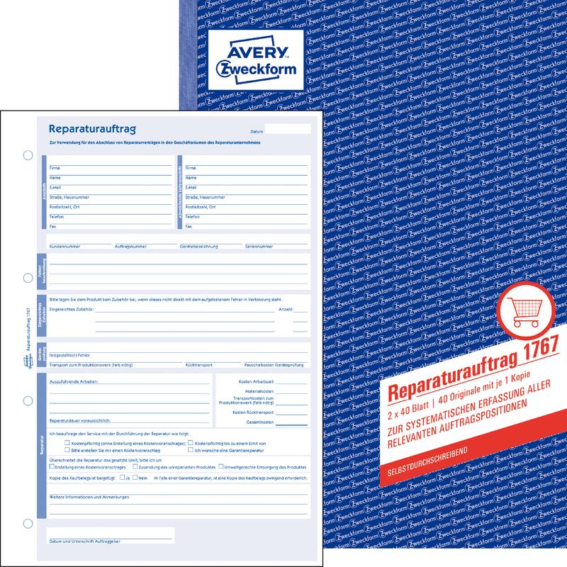 "DIN A4 AVERY Zweckform Formularbuch /""Reparaturauftrag/"" SD"