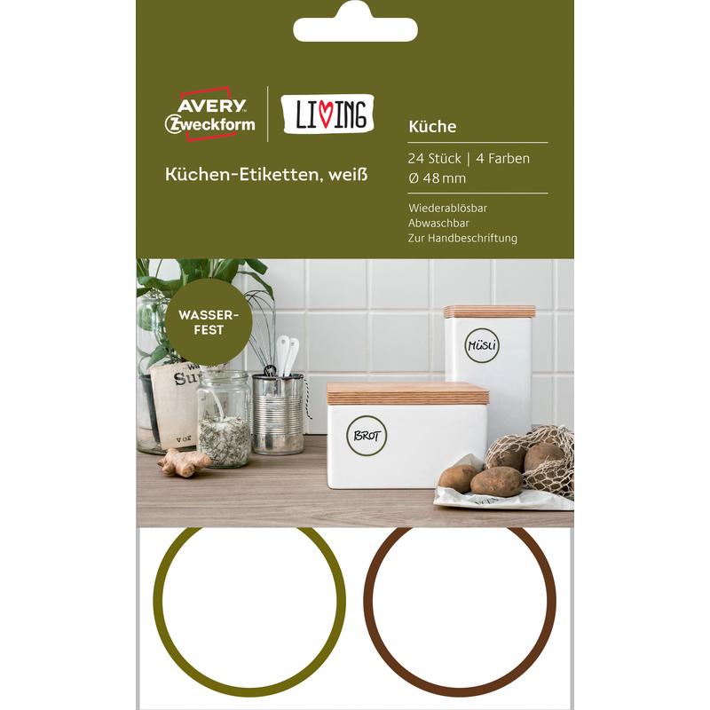 AVERY Zweckform LIVING Küchen-Etiketten, Durchmesser: 48 mm 62001 ...