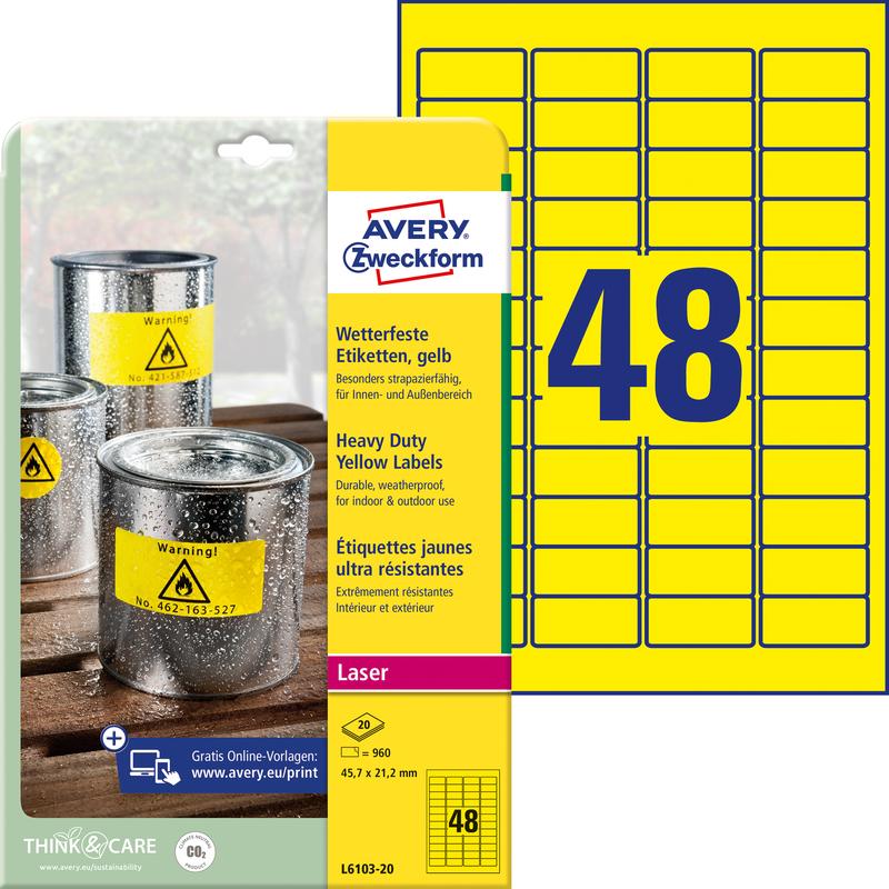 Avery Zweckform Folien Etiketten 457 X 212 Mm Gelb