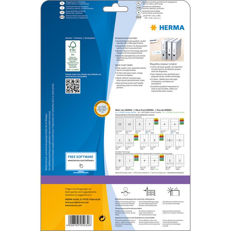Herma 5032 Einsteckschilder Ordnerrücken Etiketten breit//kurz 54 x 190 mm