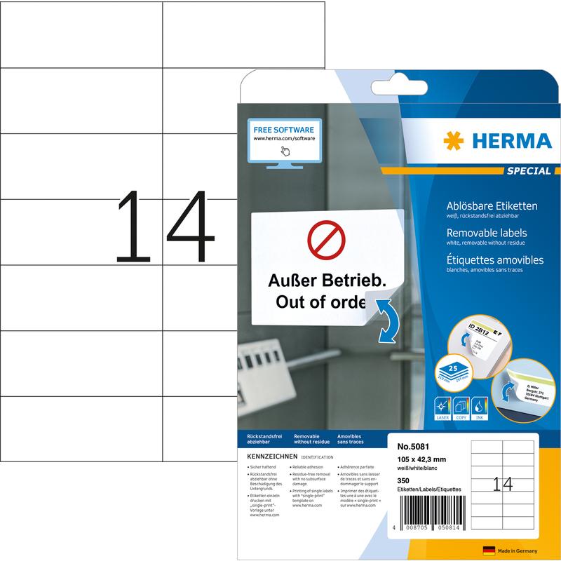 Etiketten A4 weiß 105x42,3 mm Movables//ablösbar Papier matt 350