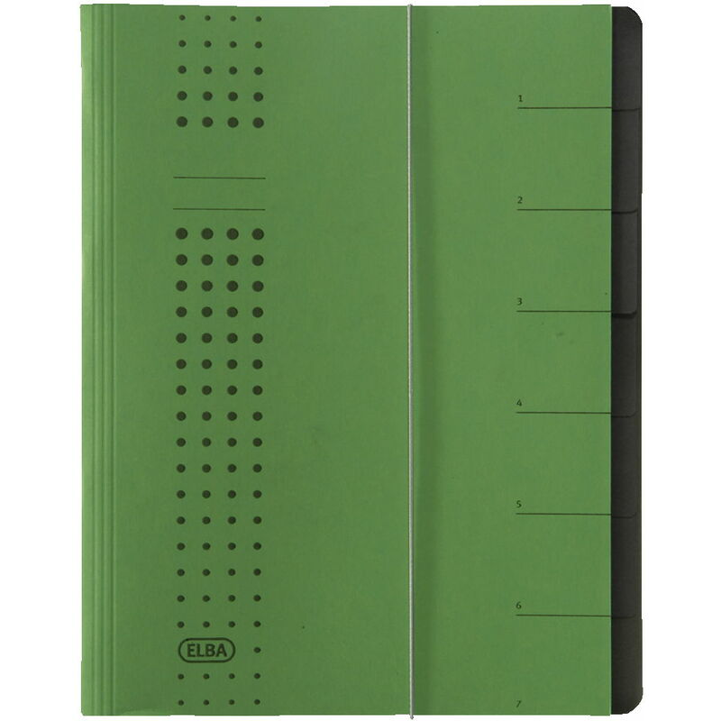 ELBA 400002025 Ordnungsmappe chic A4 7 Fächer mit Blankotaben aus Karton in grün