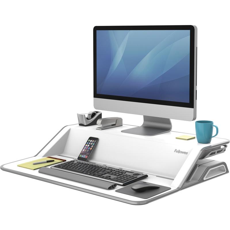 fellowes sitz steh workstation lotus wei 0009901 bei g nstig kaufen. Black Bedroom Furniture Sets. Home Design Ideas