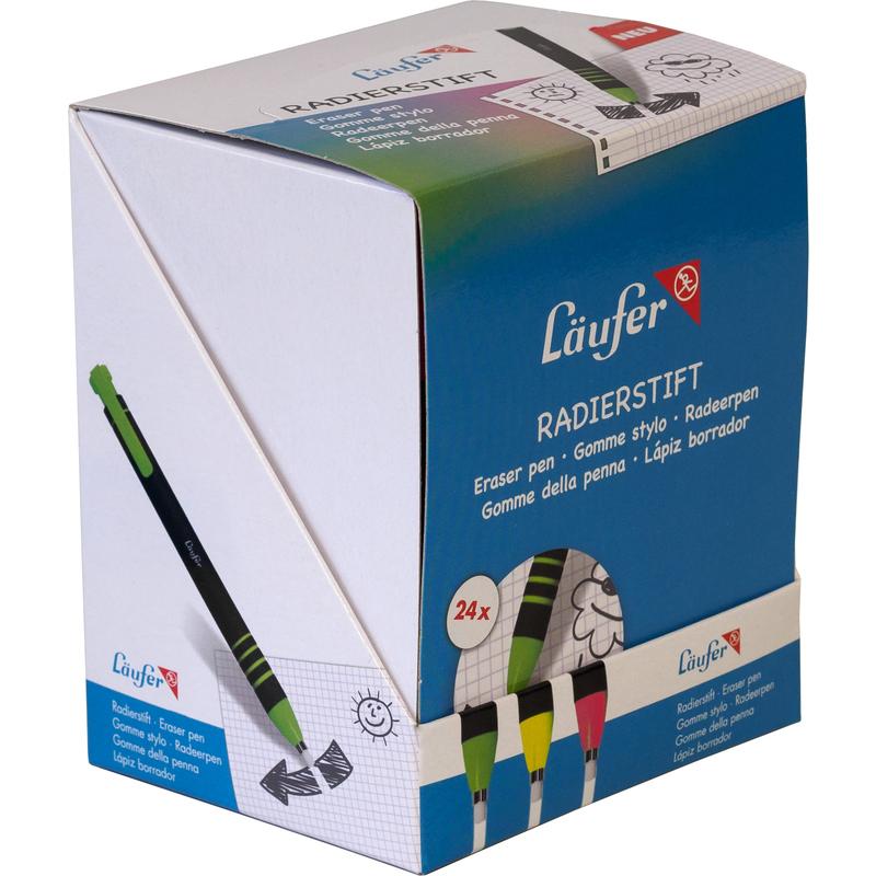 Läufer Kunststoff-Radierstift farbig sortiert nachfüllbar Metallspitze 4mm Stift