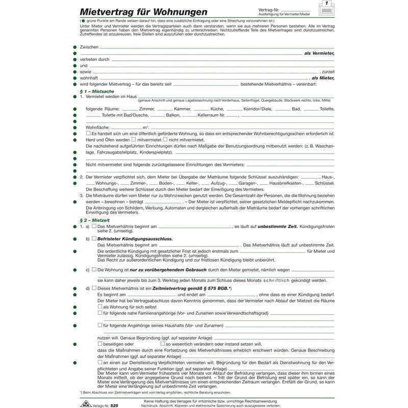 Rnk Verlag Vordruck Mietvertrag Für Wohnungen Din A4 52510 Bei