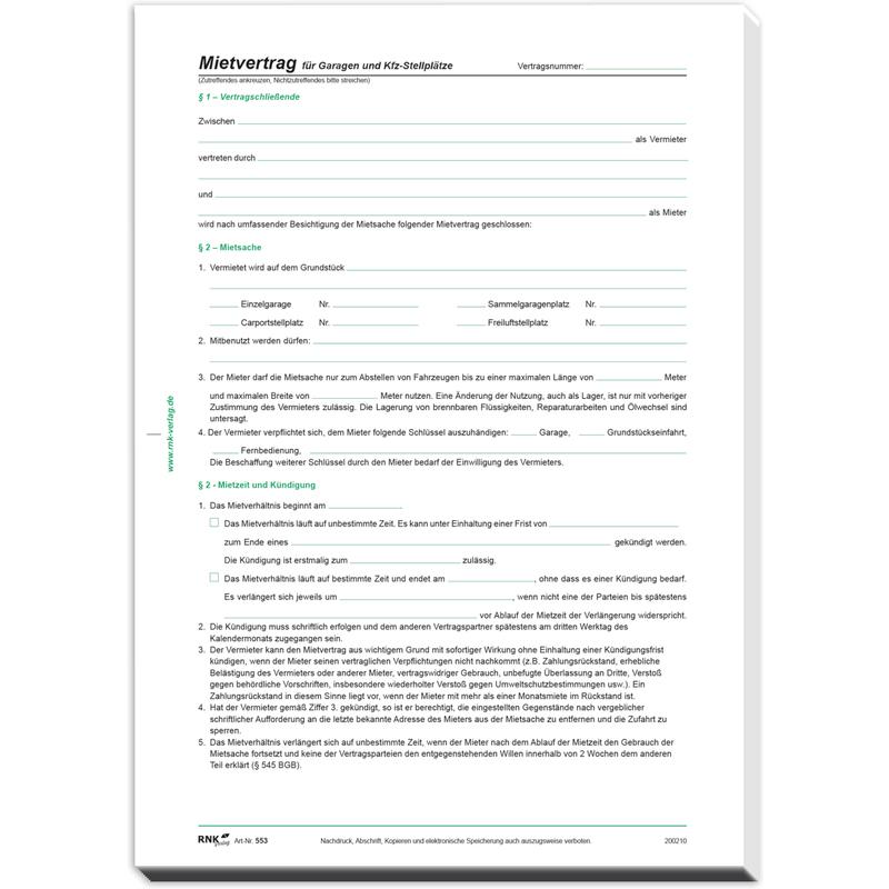 Rnk Verlag Vordruck Mietvertrag Für Garagen Din A4 55310 Bei Www