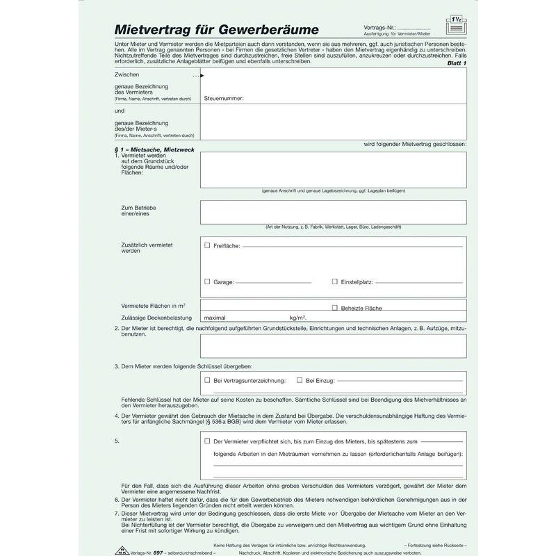 Rnk Verlag Vordruck Mietvertrag Für Gewerberäume Sd 597 Bei Www