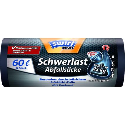 swirl Profi Schwerlast-Abfallsack, schwarz, 60 Liter