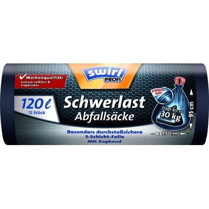 swirl Profi Schwerlast-Abfallsack, schwarz, 120 Liter