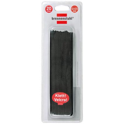 brennenstuhl Klett-Kabelbinder, 125 x 10 mm, schwarz