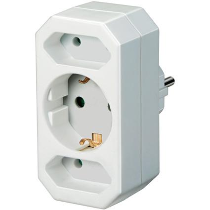 brennenstuhl Adapterstecker, Euro- und Schutzkontakt, weiß
