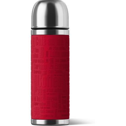 emsa Isolierflasche SENATOR, 0,50 Liter, Manschette rot