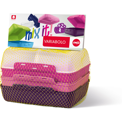 emsa Brotdose VARIABOLO Clipbox Set Girls, 4-teilig, farbig