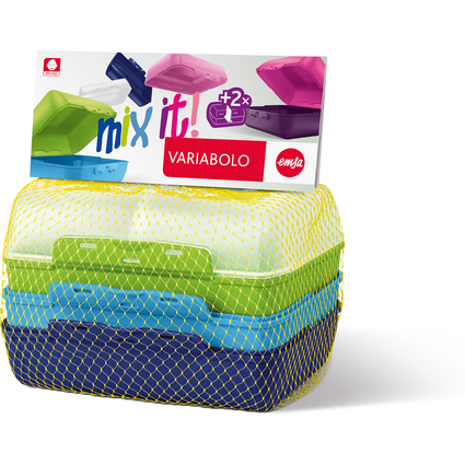 emsa Brotdose VARIABOLO Clipbox Set Boys, 4-teilig, farbig