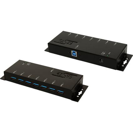"EXSYS USB 3.0 Hub, 7 Port, mit Wandbefestigung oder 19"" Rack"