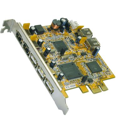 EXSYS USB 2.0 FireWire 1394a PCI-Express Karte, 4 + 3 Port