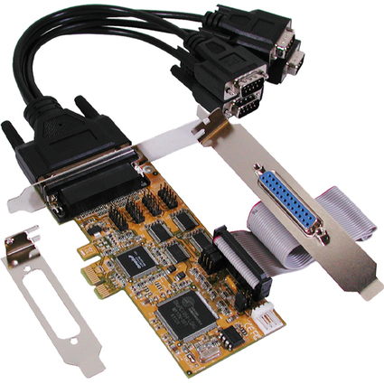 EXSYS Seriell/Parallel 16C950 RS-232 PCIe Karte , 4S + 1P