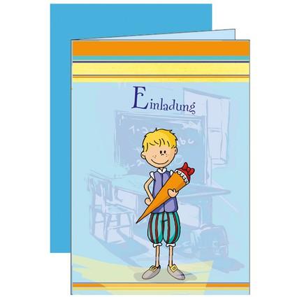 """ROTH Einladungskarte """"Mein Schulbeginn"""", blau"""