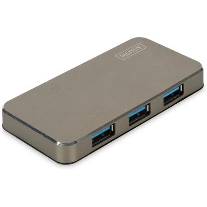 DIGITUS USB 3.0 Hub, 4-Port, schwarz/matt, inkl. Netzteil