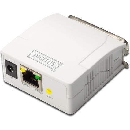 DIGITUS Fast Ethernet Printserver, parallel, weiß