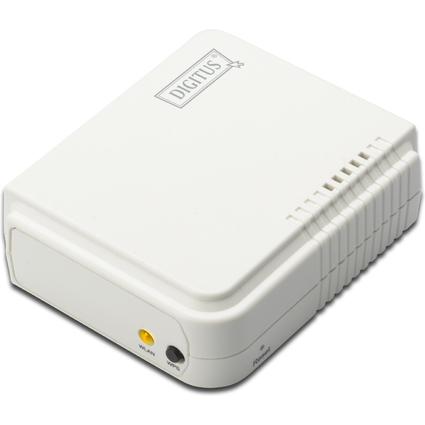 DIGITUS WLAN Printserver, 1 x USB 2.0 + 1 x RJ45, weiß