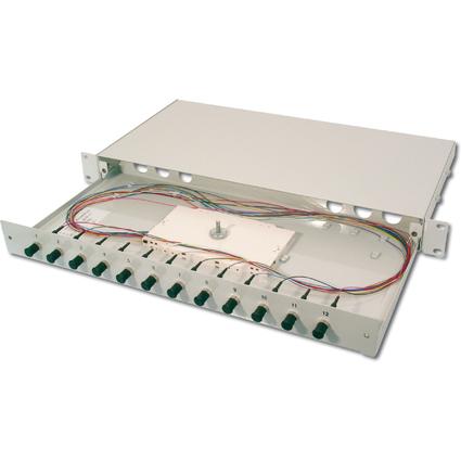 """DIGITUS 19"""" Glasfaser LWL Spleißbox, OM2, bestückt, 24 x ST"""