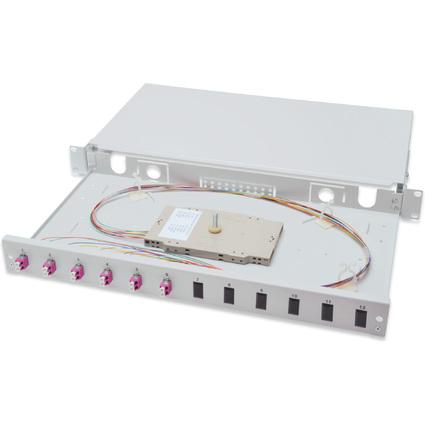 """DIGITUS 19"""" Glasfaser LWL Spleißbox, OM4, bestückt, 6 x LC"""