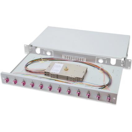 """DIGITUS 19"""" Glasfaser LWL Spleißbox, OM4, bestückt, 12 x LC"""