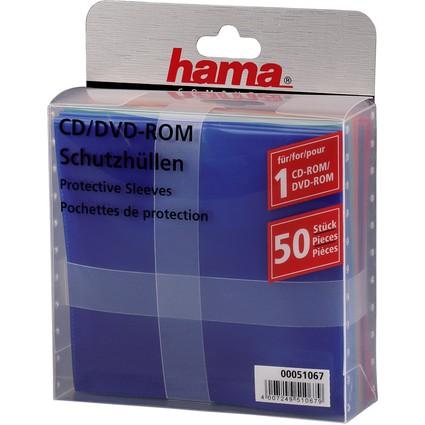 hama CD-/DVD-Hülle, PP, farbig sortiert, oben offen