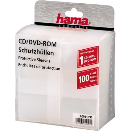 hama CD-/DVD-Hüllen, PP, transparent, oben offen